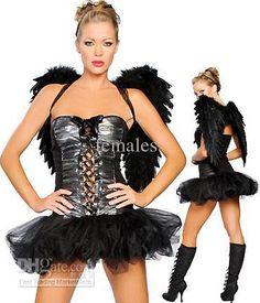 Sexy Black Angel Costume Halloween Women Dress With Wings Black Angel Halloween Costume, Girls Angel Costume, Corset Halloween Costumes, Angel And Devil Costume, Halloween Kostüm, Angel Costumes, Women Halloween, Cosplay Costumes, Costume Ange