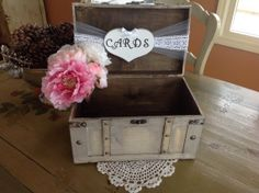 Rustic Wedding Card Box,lace Wedding, Burlap Wedding, Large Card Box…