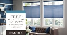 Since Graber and Springs Window Fashions have been providing beautiful, top-quality window treatments to help unlock your inner designer and bring style and sophistication to your home. Large Window Coverings, Blinds For Large Windows, Large Window Treatments, Window Treatments Living Room, Window Blinds, Dining Room Windows, House Windows, Springs Window Fashions, Honeycomb Blinds