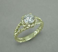 Gold Twisted Rope Diamond Engagement Ring Moissanite by Benati