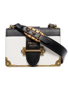 817b3fd6be Prada Cahier Leather Shoulder Bag. Black And White ...