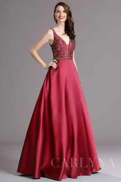 Carlyna Burgundy Beaded Plunging V Neck Floor Length Formal Prom Dress (E60017)