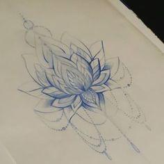 Tatto Ideas 2017  realistic lotus flower drawings // dessin stylisé de fleur de lotus influencé