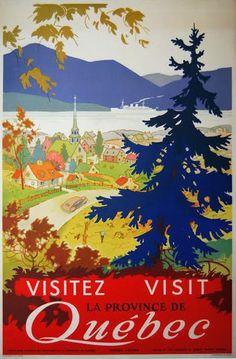 """Canada - Visitez Visit Quebec c. 1950 Anonymous 36"""" x 24"""" vintage Canadian travel poster"""