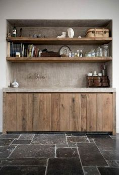 In love with these floors and the rawness of the wood cabinets. In love with these floors and the rawness of the wood cabinets. Küchen Design, House Design, Interior Design, Creative Design, Rustic Kitchen, New Kitchen, Wooden Kitchen, Kitchen Ideas, Kitchen Decor