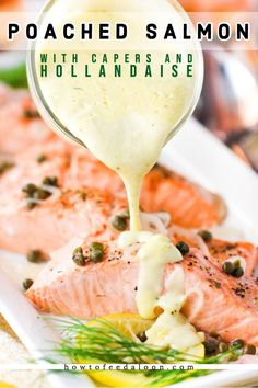 This Poached Salmon with Capers and Hollandaise Sauce is so easy, so healthy, an… This Poached Salmon with Capers and Hollandaise Sauce is so easy, so healthy, and so through-the-roof good. GET RECIPE AND SEE ALL-NEW VIDEO! Recipe For Poached Salmon, Poached Fish Recipes, Salmon Recipes, Veggie Recipes, Cooking Recipes, Healthy Recipes, Seafood Dishes, Recipes, Steak