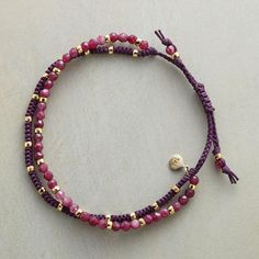 """VIOLET HUES BRACELET - Agate beads in violet sparked with 18kt vermeil. Handmade with braided slide closure. Fits 5"""" to 7-1/2"""" wrists."""