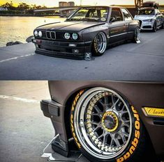 BMW E30 3 series grey widebody slammed