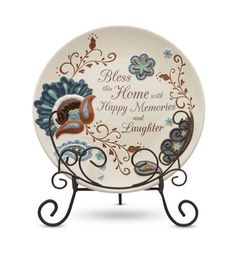 "Perfectly Paisley Bless This Home Decorative Plate with Stand, 8-Inch by Perfectly Paisley. $20.00. Decorative plate, includes stand. Comes packaged in a beautiful gift box which makes for wonderful ""gift to go"". Reads, ""bless this home with happy memories and laughter"". Pavilion Company's Perfectly Paisley Collection will be sure to catch your eye. With the modern blue, green and brown color combinations, the intricate detailing and the heartfelt sentiment make Perfectl..."