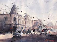 Maria Cornea Bucharest, Watercolour Painting, Online Art Gallery, Romania, Street View, Paintings, Landscape, Artist, Scenery