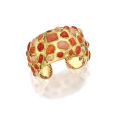 18 Karat Gold and Coral Cuff-Bracelet, Seaman Schepps | Lot | Sotheby's