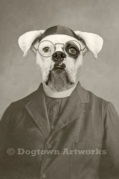 """Father Finnegan"" large original photograph of by DogtownArtworks. Anthropomorphic dog art."