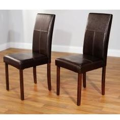 @Overstock - This classic parson dining chair set is both versatile and fashionable. The upholstery's dark brown faux leather has matching brown stitching and is filled with polyester foam. The chairs are easy to maintain and are stylish as well.http://www.overstock.com/Home-Garden/Bettega-Parson-Chair-Set-of-2/6460945/product.html?CID=214117 $125.99