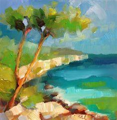 "Daily Paintworks - ""The Provençal Coastal Trail - Mediterranean"" - Original Fine Art for Sale - © Anne Ducrot"
