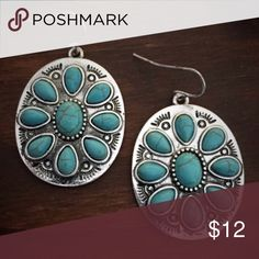 Silver & Turquoise Medallion Earrings Brand new silver & turquoise dangle earrings. Boho, gypsy, tribal, Aztec, Navajo, southern, southwest, western, rodeo, cowgirl style. Jewelry Earrings