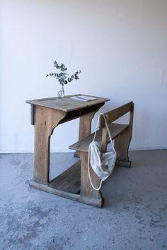 houten vintage schoolbank uit Frankrijk - Firma Zoethout