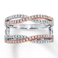 Diamond Enhancer Ring 1/2 ct tw Round-cut 14K Two-Tone Gold
