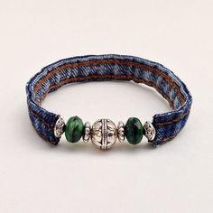 Denim Green Beaded Wrap Jean Bracelet, Recycled Upcycled Eclectic Wrap Cuff Braclet, Green & Silver Beads Denim Seams by EverydayWomenJewelry on Etsy https://www.etsy.com/listing/234823319/denim-green-beaded-wrap-jean-bracelet