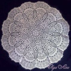 No photo description available. Crochet Doily Diagram, Crochet Doily Patterns, Crochet Doilies, Crochet Tablecloth, Diy And Crafts, Knitting, Couture, Tablecloths, Yandex Disk