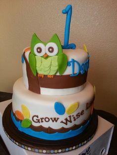 owl cake, 1st birthday cake