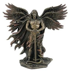 11 Inch Six Winged Guardian Angel Statue With Serpent Figure Catholic Decor