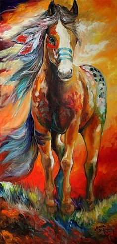 Native American horse painting. Love the equine work this artist, Marcia Baldwin does! Beautiful! Please also visit www.JustForYouPropheticArt.com for more colorful art to pin.