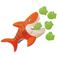 """""""Gobble Gobble Guppies""""  •Squeeze the trigger to open the shark's mouth, then try to gobble all the guppies.  •New swimmers can practice their swimming skills by trying to catch guppies as quickly as they can.  •Includes one shark and five floating guppies.  •Ages 2+"""