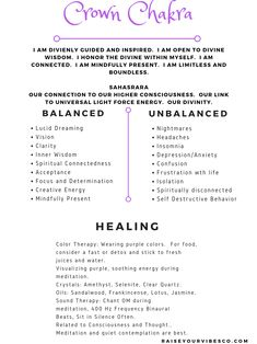 Crown Chakra Self Healing Techniques, sound healing therapy, free printable! Chakra Balancing Sessions and Reiki Healing available. Join our community and learn self healing techniques and spiritual growth! Root Chakra Healing, Reiki Chakra, Chakra Beads, Chakra Stones, Pranayama, Chakra Affirmations, Les Chakras, Healing Meditation, Mindfulness Meditation