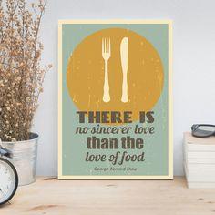 Kitchen quote, Kitchen print, Retro poster, Minimalist art, Fork, Knife, Plate, George Bernard Shaw quote, Food art, Literary quote