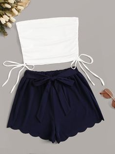 Shein Drawstring Hem Tube Top & Scallop Trim Belted Shorts Multicolor Casual Sleeveless Cotton Blends Fabric has some stretch Summer Two-piece Outfits, size features are:Sleeve Length : Sleeveless, Cute Lazy Outfits, Girly Outfits, Pretty Outfits, Stylish Outfits, Girls Fashion Clothes, Teen Fashion Outfits, Cute Fashion, Tube Top Outfits, Cute Sleepwear