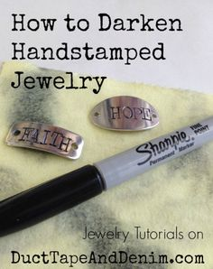 A simple tutorial with a short video showing how to darken handstamped jewelry with things you probably already have. A simple tutorial with a short video showing how to darken handstamped jewelry with things you probably already have. Silverware Jewelry, Spoon Jewelry, Jewelry Clasps, Leather Jewelry, Amber Jewelry, Man Jewelry, Cowgirl Jewelry, Silver Jewelry, Diamond Jewelry