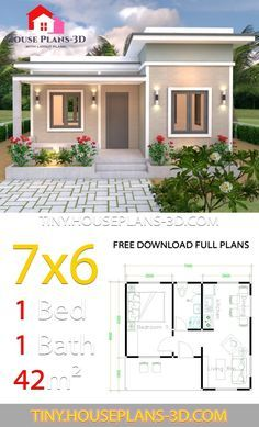 House Plans with One Bedroom Flat Roof - Tiny House Design One Bedroom House Plans, 1 Bedroom House, One Bedroom Flat, Flat House Design, Bungalow House Design, Small Modern House Plans, Modern Small House Design, House Construction Plan, Flat Roof House