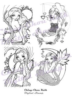 San Valentín amor sirena sello Digital Set de 4 imágenes - instantánea descargar / corazón Luna Cresent fantasía hada niña arte de Ching-Chou Kuik