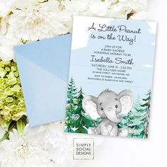 Your guests will love this sweet winter elephant baby shower invitation!  This listing is for design work only. You will receive a high-resolution JPG or PDF. Print as many copies as you need. Envelopes are for display purposes only.  To order this digital file: 1. Choose file