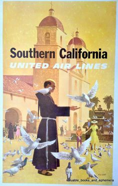 United Airlines SOUTHERN CALIFORNIA Galli Original Vintage Travel Airline Poster