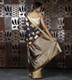 Not RM| Navy Blue Chanderi Silk Saree with Gold Foil Print, by Rohit Bal