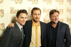 "Russell Crowe Photos - (L-R) Matt Bomer, Ryan Gosling and Russell Crowe attend the New York Screening of ""The Nice Guys"" at Metrograph on May 12, 2016 in New York City. - 'The Nice Guys' New York Screening"