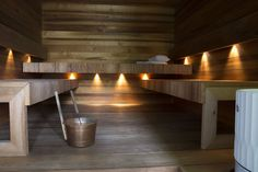 The sauna on valmis! Sauna House, Sauna Room, Sauna Lights, Modern Saunas, Sauna Design, Modern House Facades, Portable Spa, Arch Interior, Spa Rooms