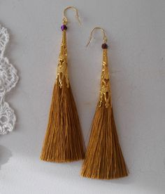 Cognac tassel dangle earrings with Swarovski bicones by RicePaperJewels on Etsy