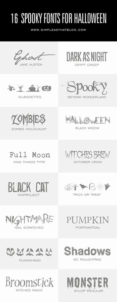 16 Spooky Fonts for Halloween - simple as that ~~ Free fonts w/ links} (Favorite Party Free Printables)