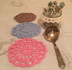 My handmade doily coasters and jar collar sitting pretty with op shop treasures on Nanna's tablecloth. Doilies, Coasters, Jar, Pretty, Shop, Handmade, Hand Made, Coaster, Craft