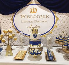 Royal Blue gold white prince themed printable backdrop >> Learn even more by checking out the picture Shower Party, Baby Shower Parties, Baby Shower Themes, Baby Shower Decorations, Shower Favors, Shower Ideas, Prince Birthday Party, Baby Birthday, Birthday Parties