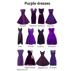 Why is Virgo ALWAYS given the high neck pooooofy dresses? They're so NOT for my shape. I prefer body con like Leo's or Taurus's - Horoscope Quotes Zodiac Signs Sagittarius, Zodiac Star Signs, Zodiac Horoscope, Taurus, Zodiac Clothes, Zodiac Sign Fashion, Purple Dress, Pretty Dresses, Prom Dresses