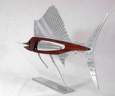 Metal and Wood Sailfish Sculpture . Last by TheWoodenFishMarket Wood And Metal, Metal Art, Wood Art, Laser Cut Steel, Metal Fish, Fish Sculpture, Fish Crafts, Fish Design, Fish Art