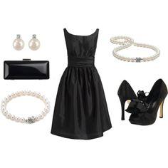 Classic Audrey Hepburn Black Cocktail Dress ( New Years, Bridesmaid, Rehearsal, Wedding ), created by glennadesigns