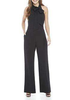 67f9a3dbf512 Vince Camuto Sleeveless Bow Neck Crepe Jumpsuit