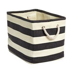 Rugby Stripe Bins: Large 17x12x12.5h, Small 15x10x11.5h . http://www.containerstore.com/shop?productId=10029538&N=&Ntt=stripe