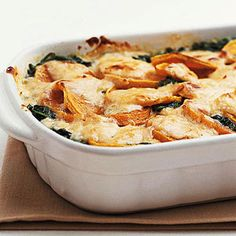 Butternut Squash Gratin -- lots of fiber and antioxidants make it a good trade off for the high calorie count! This rich vegetable casserole recipe is made with half-and-half and creme fraiche.