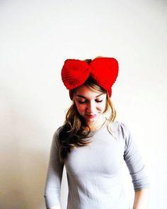 Cherry Red Crochet Ear Warmer Headband - Bow Crochet Ear Warmer Headband #crochet