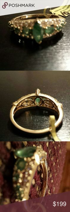 Kagem Zambian Emeralds marq *FINAL* Zambian  Emeralds  Marquis with white topaz ring in 14k yellow gold over sterling silver nickel Jewelry Rings